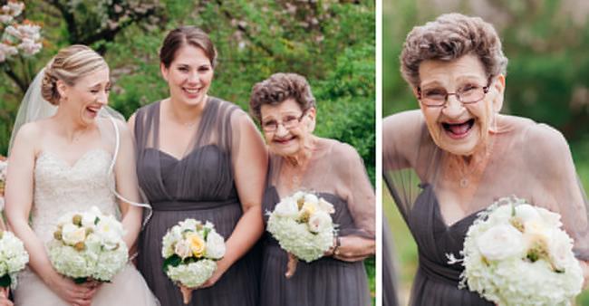 A neta convidou, ela aceitou. Vovó de 89 anos é dama de honra em ...