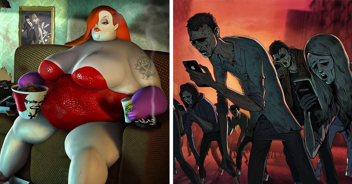 10 ilustrações expõem a triste realidade sobre a vida moderna. Eu ...