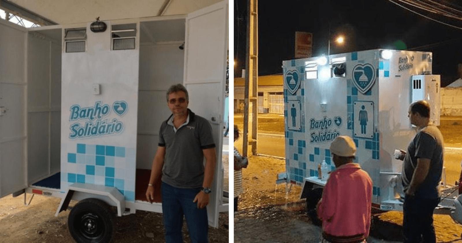 Empresário cria banheiro itinerante para que moradores de rua possam tomar banho