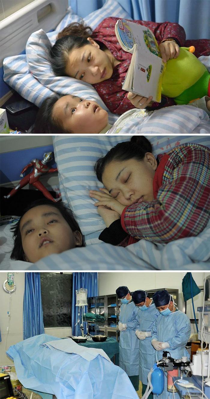 Fotos do garoto e sua mãe no hospital. Abaixo os médicos lamentando a morte da criança