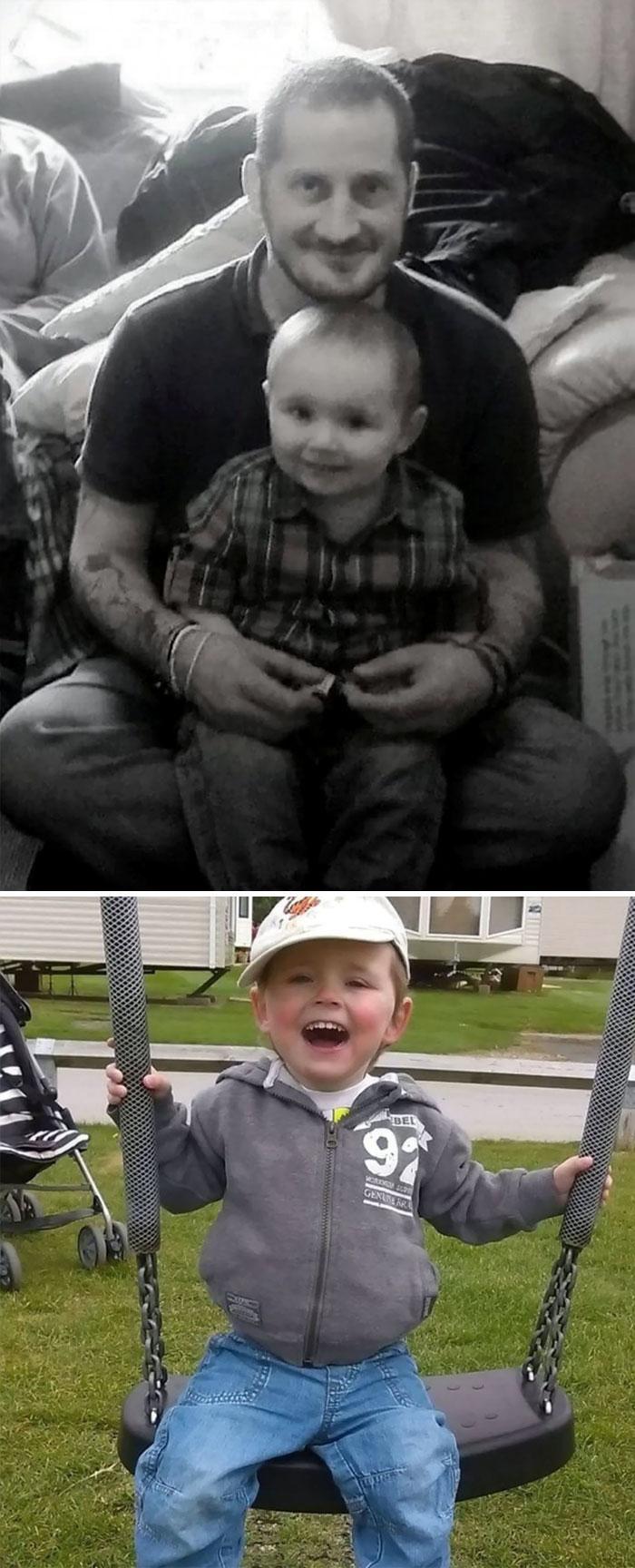 Pai e filho abraçados. Abaixo o filho sorrindo em um balanço