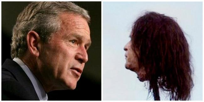 Foto de George W. Bush e ao lado a imagem da prótese de sua cabeça no espeto