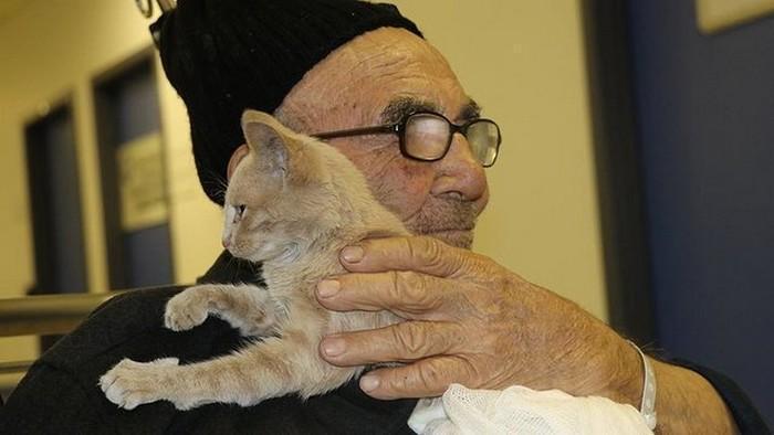 senhor perde casa em incêndio e reencontra gatinho (2)