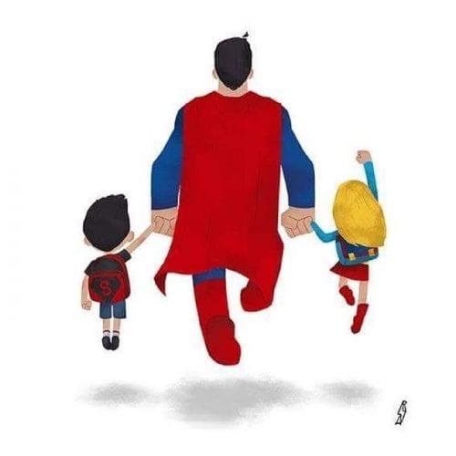Personagens famosos levando filhos para escola (1)