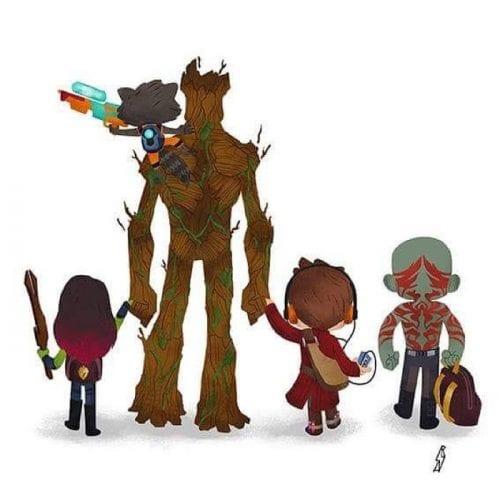 Personagens famosos levando filhos para escola (2)