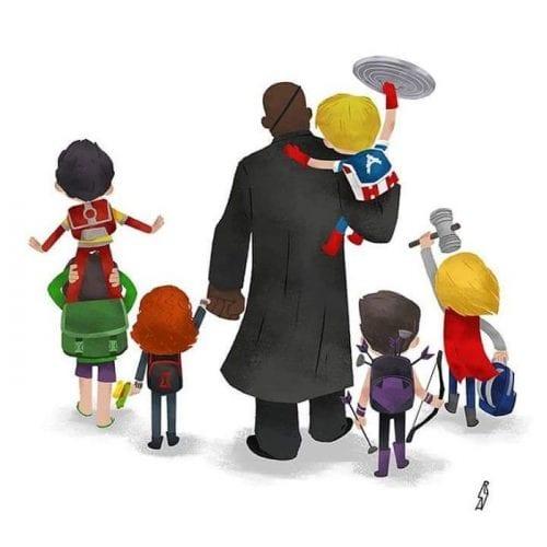 Personagens famosos levando filhos para escola (6)