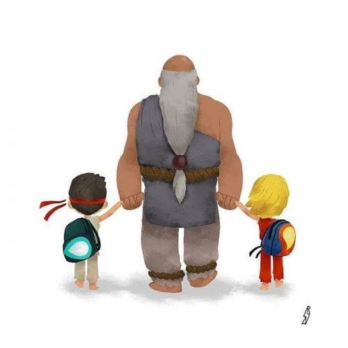 Personagens famosos levando filhos para escola (9)