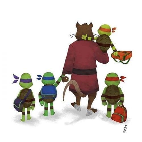 Personagens famosos levando filhos para escola (13)
