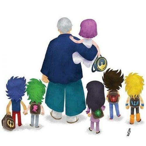 Personagens famosos levando filhos para escola (15)