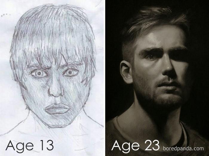 Artistas refazem seus desenhos para provar sua melhora com o tempo