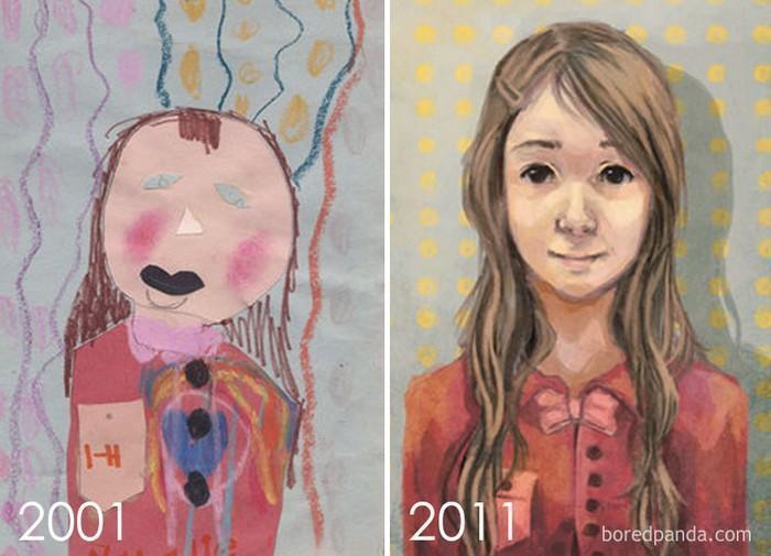 Artistas refazem seus desenhos para provar sua melhora com o tempo (1)