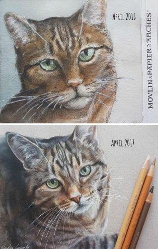 Artistas refazem seus desenhos para provar sua melhora com o tempo (18)