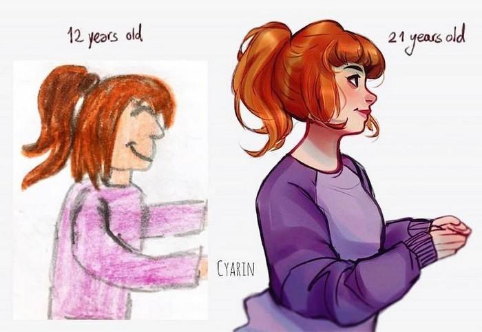 Artistas refazem seus desenhos para provar sua melhora com o tempo (16)