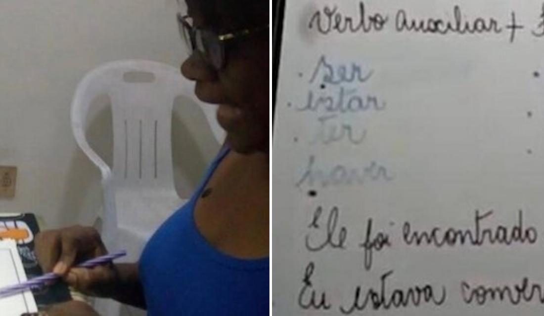 Professora viraliza ao criar gambiarra com leite e feijão, para dar aulas online