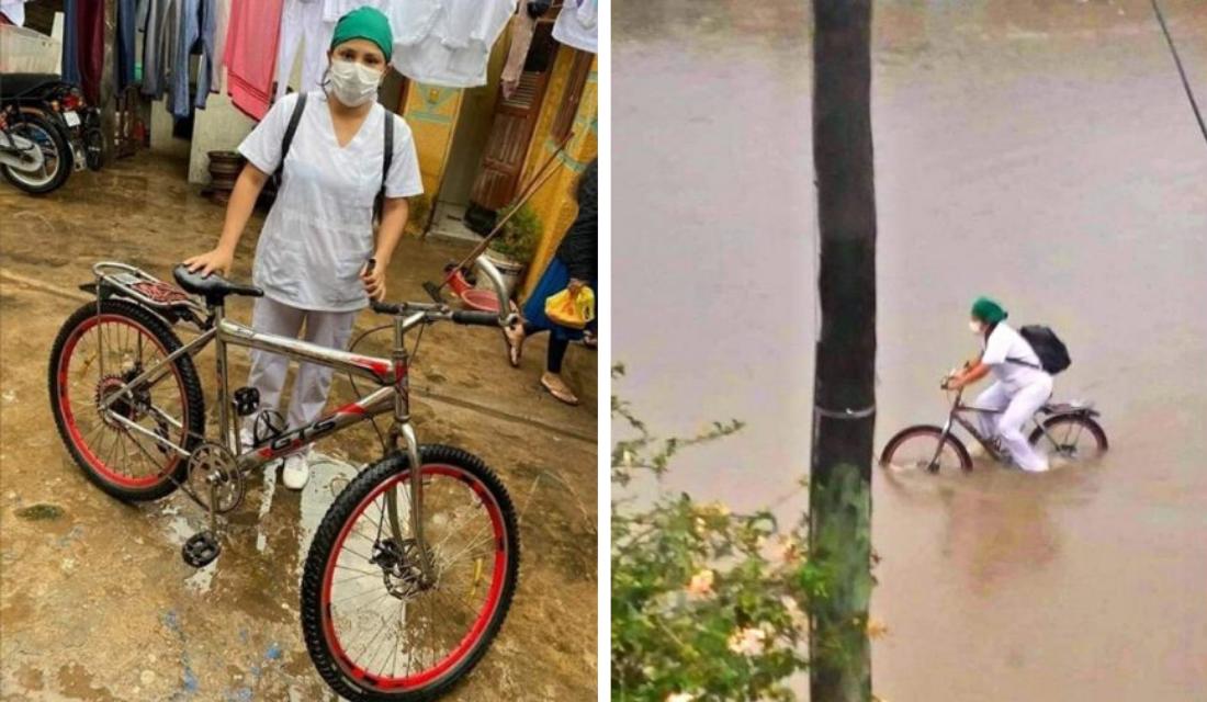 Enfermeira que usava bicicleta para trabalhar durante enchentes, ganha surpresa magnífica por esforço!