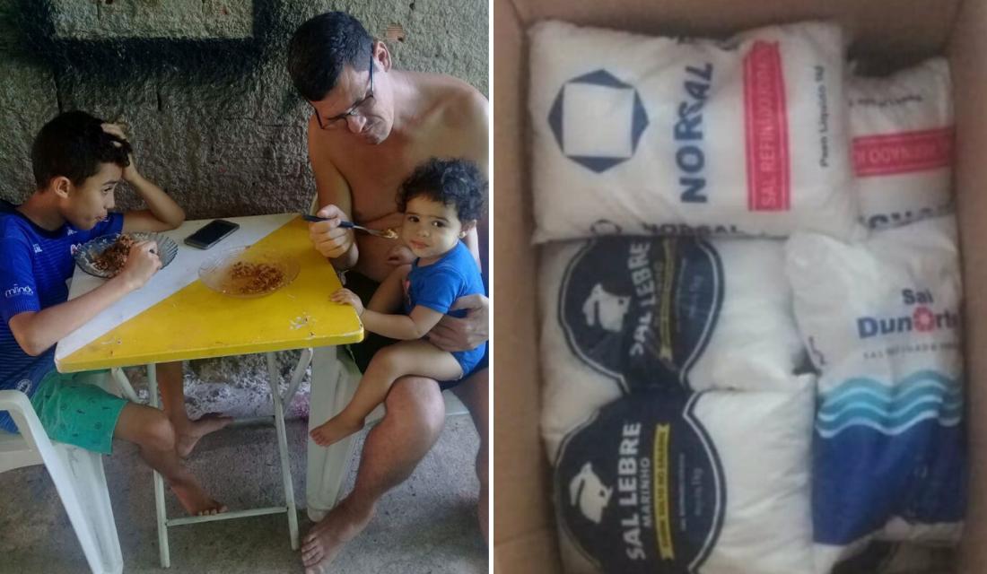 Família que ganhou cesta básica de sal e farinha recebe algo incrível de internautas