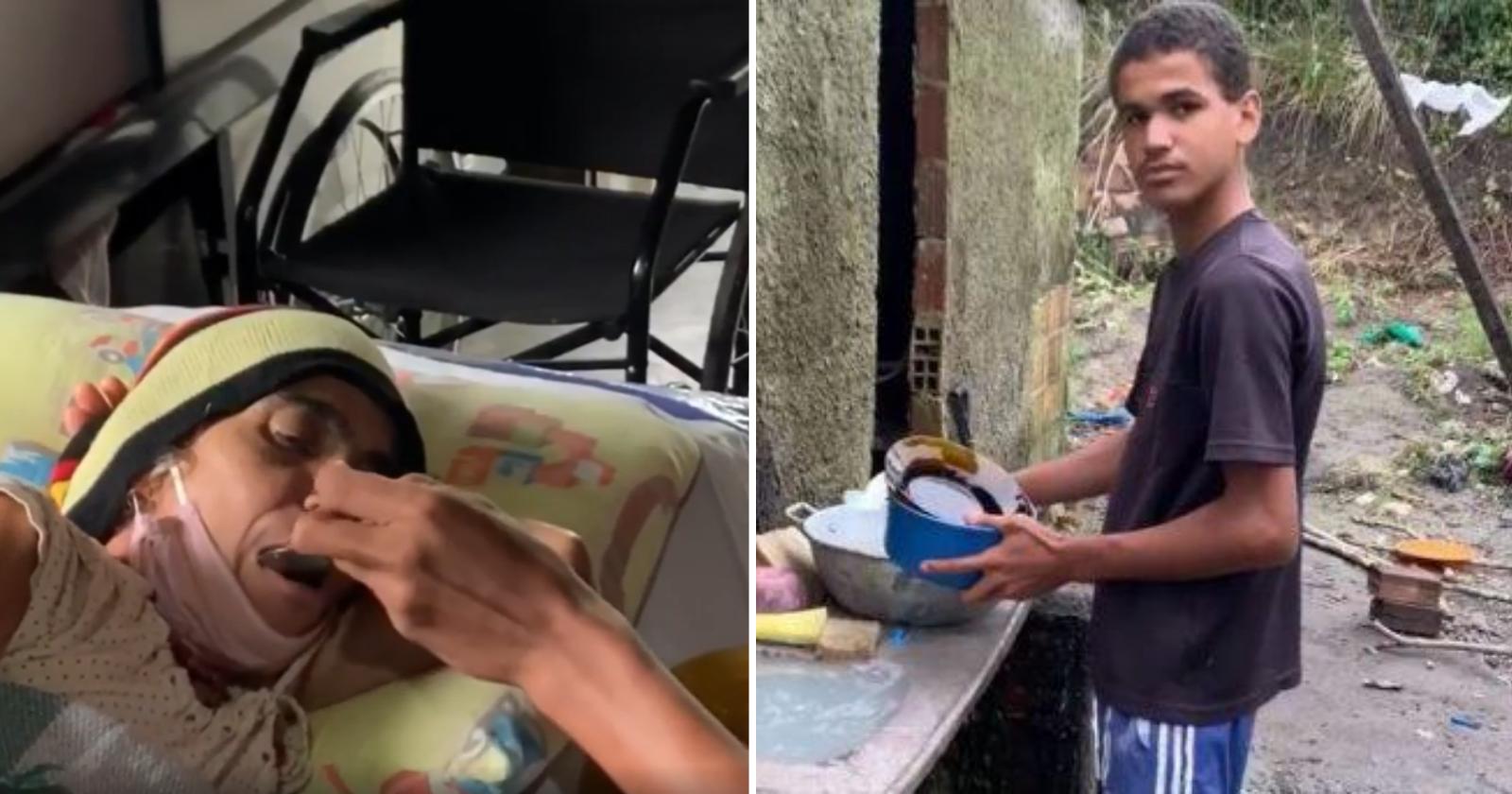 Garoto de 15 anos que cuidava de mãe e irmã doentes sozinho tem surpresa emocionante de internautas