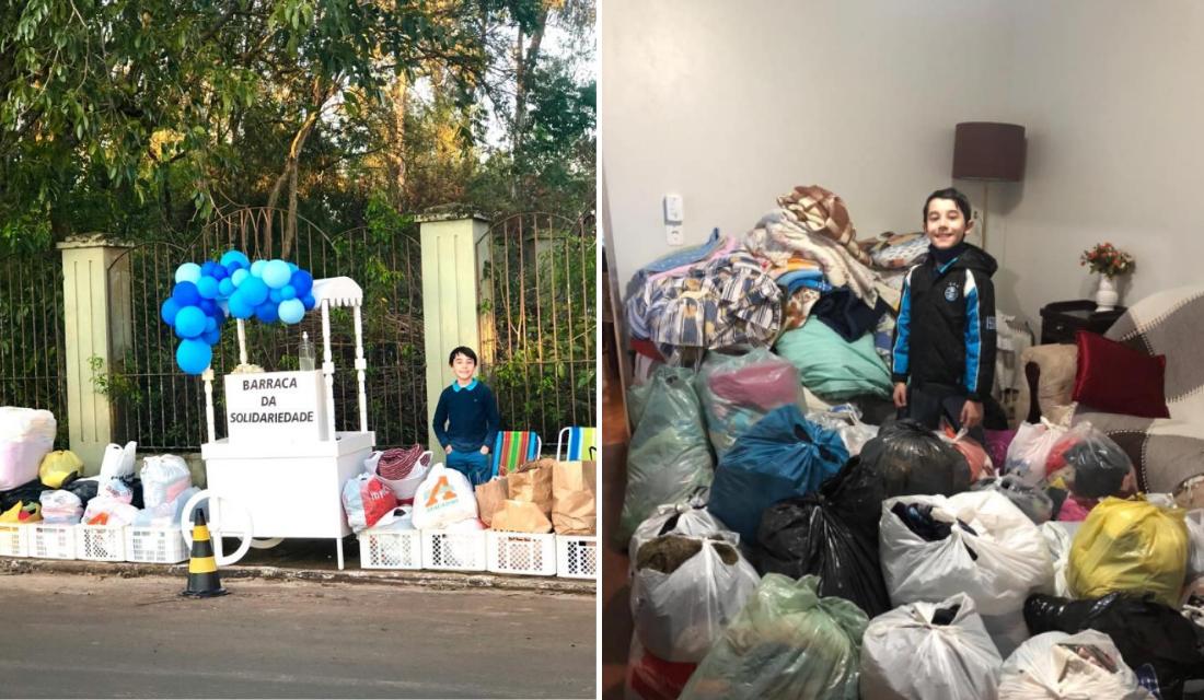 Garoto de 8 cria 'Barraca da Solidariedade' para ajudar famílias desabrigadas por causa de enchente