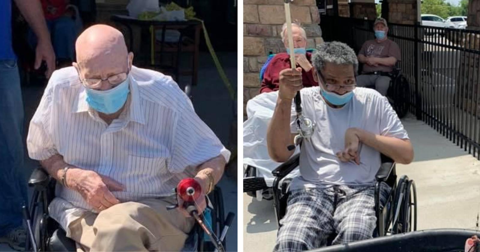 Lar de idosos improvisa pescaria para residentes e as reações são as melhores!