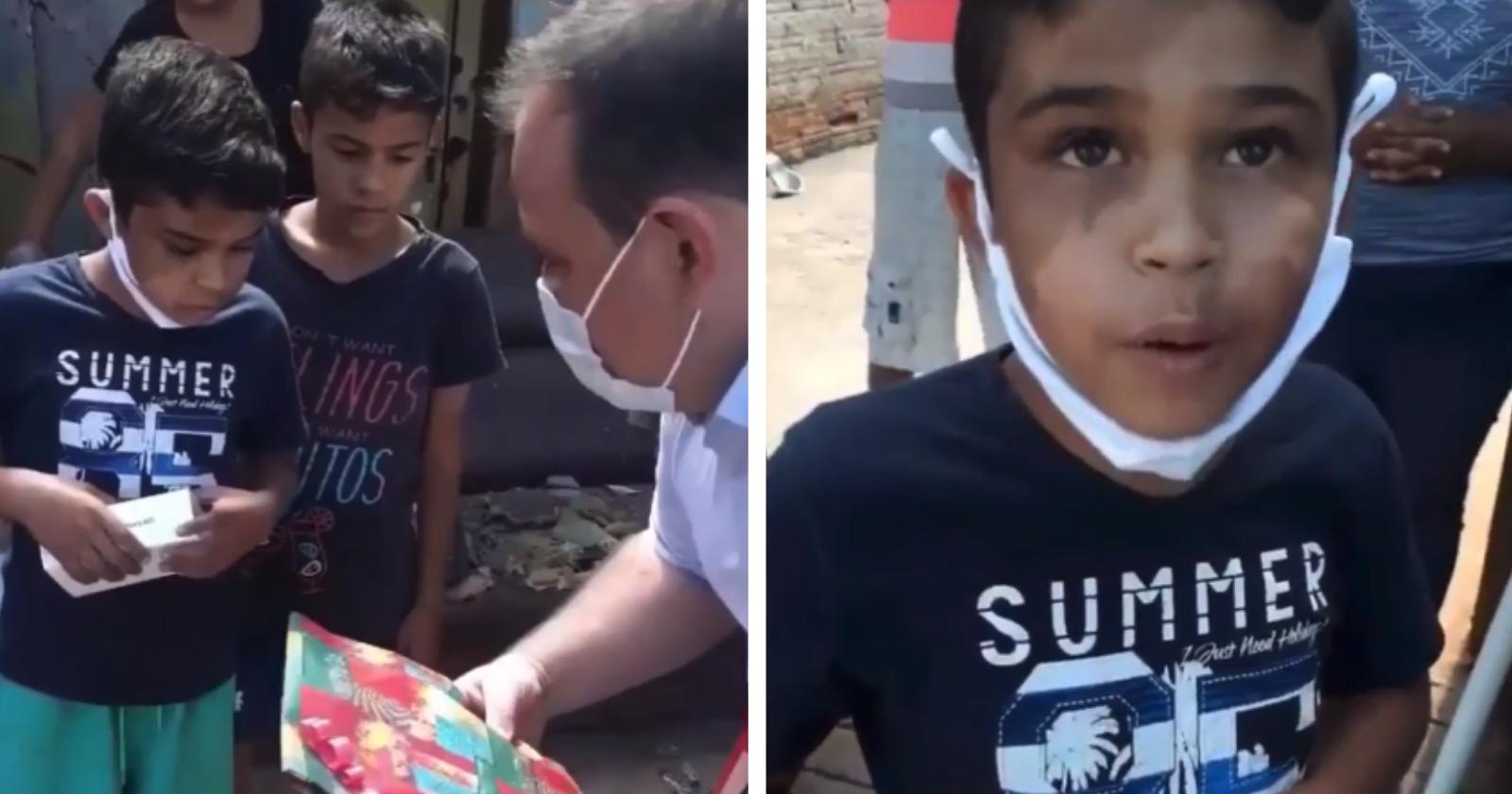 Menino que trabalhou como engraxate para comprar presente para o pai, recebe outra surpresa INCRÍVEL!