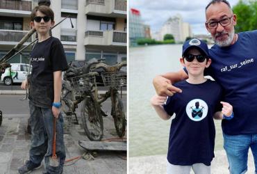 Garoto de apenas 10 anos faz limpeza no rio Sena de forma completamente inusitada