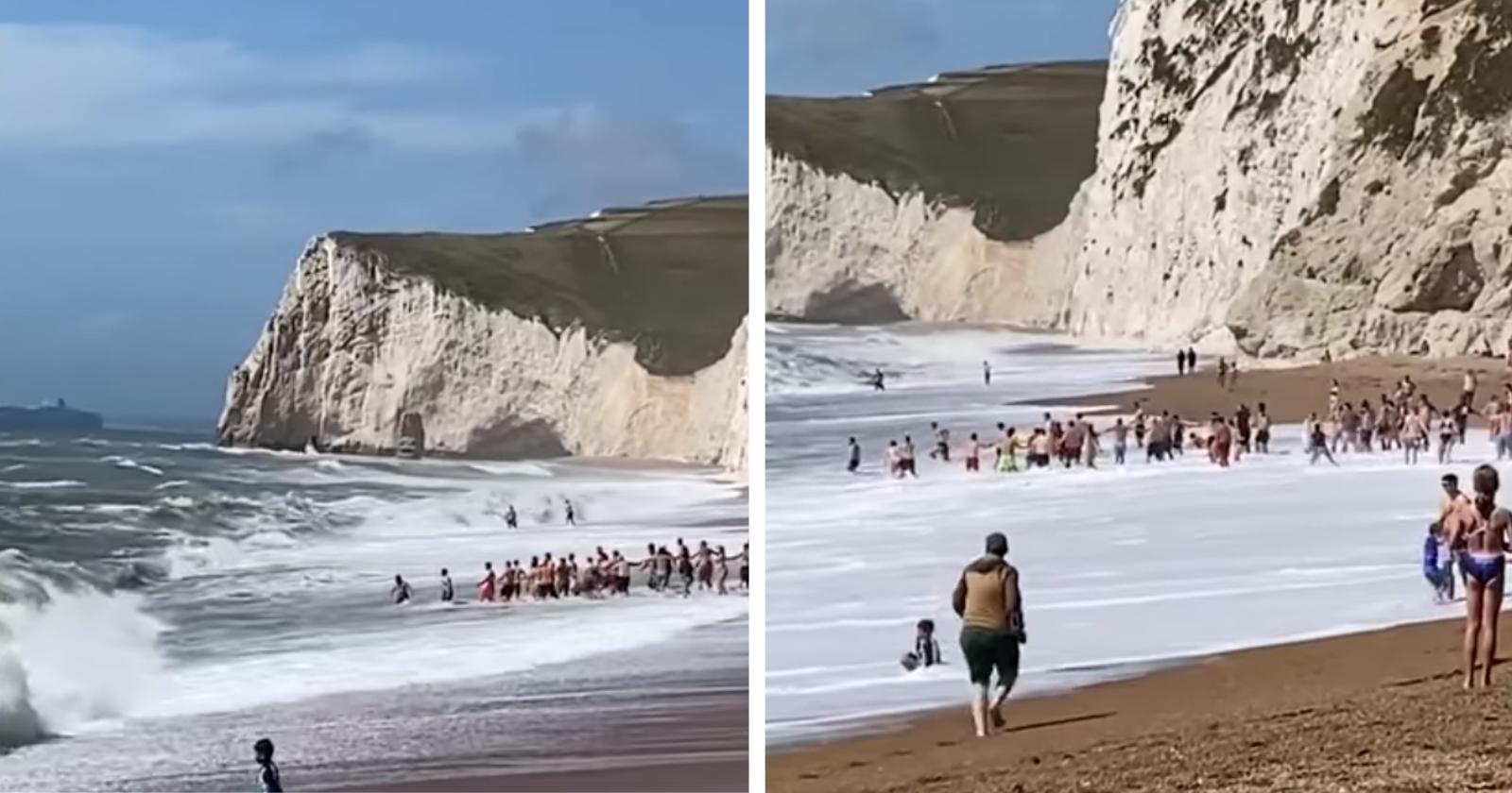 Trabalhando em equipe e de forma heróica, banhistas salvam homem que se afogava