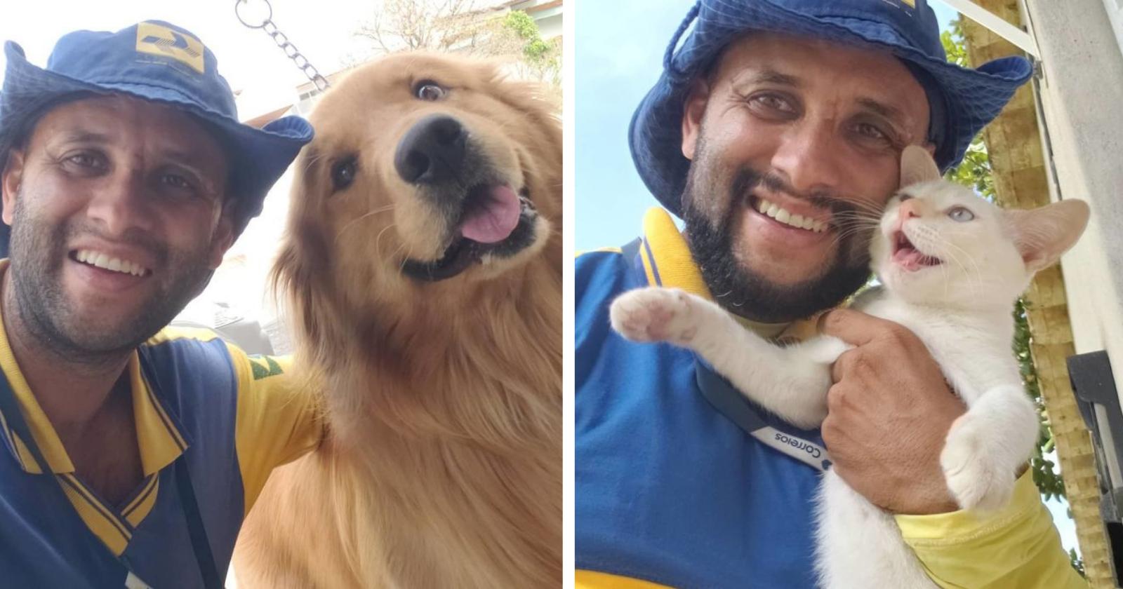 Carteiro 'Amigo dos Animais' viraliza ao tirar selfies com os pets que encontra no trabalho
