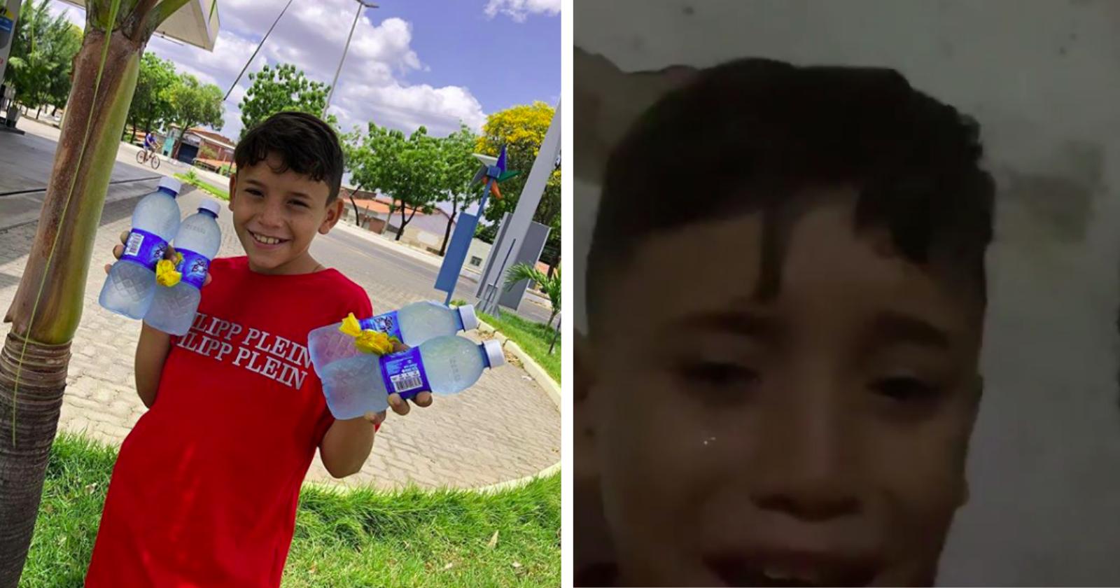 Garoto de 11 anos que chorou por não poder vender água ganha surpresa de empresário