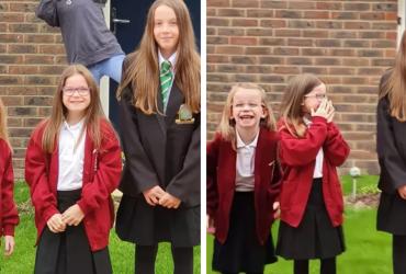 Filhas voltam às aulas e mãe comemora tendo a melhor reação de todas, veja fotos!
