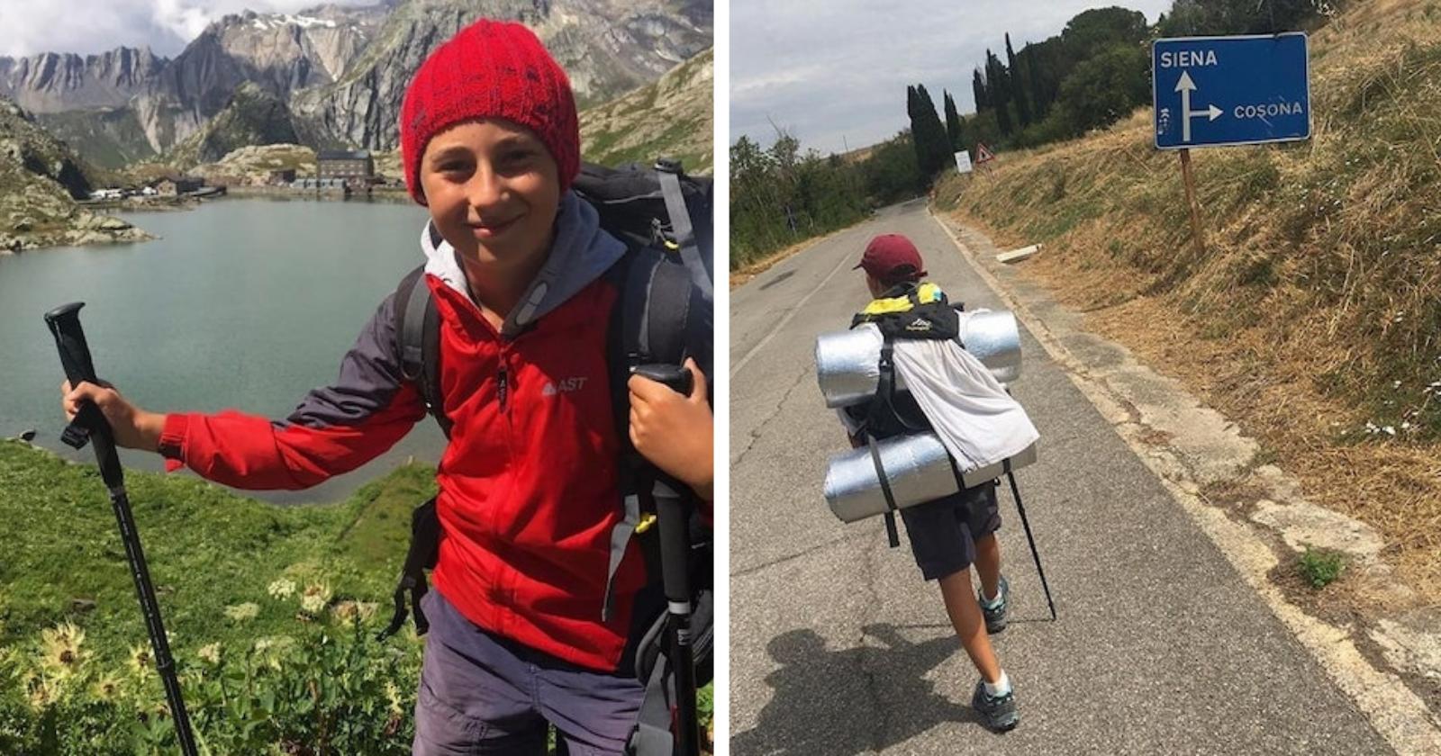 Garoto de 11 anos viaja A PÉ da Itália à Inglaterra só para abraçar sua avó