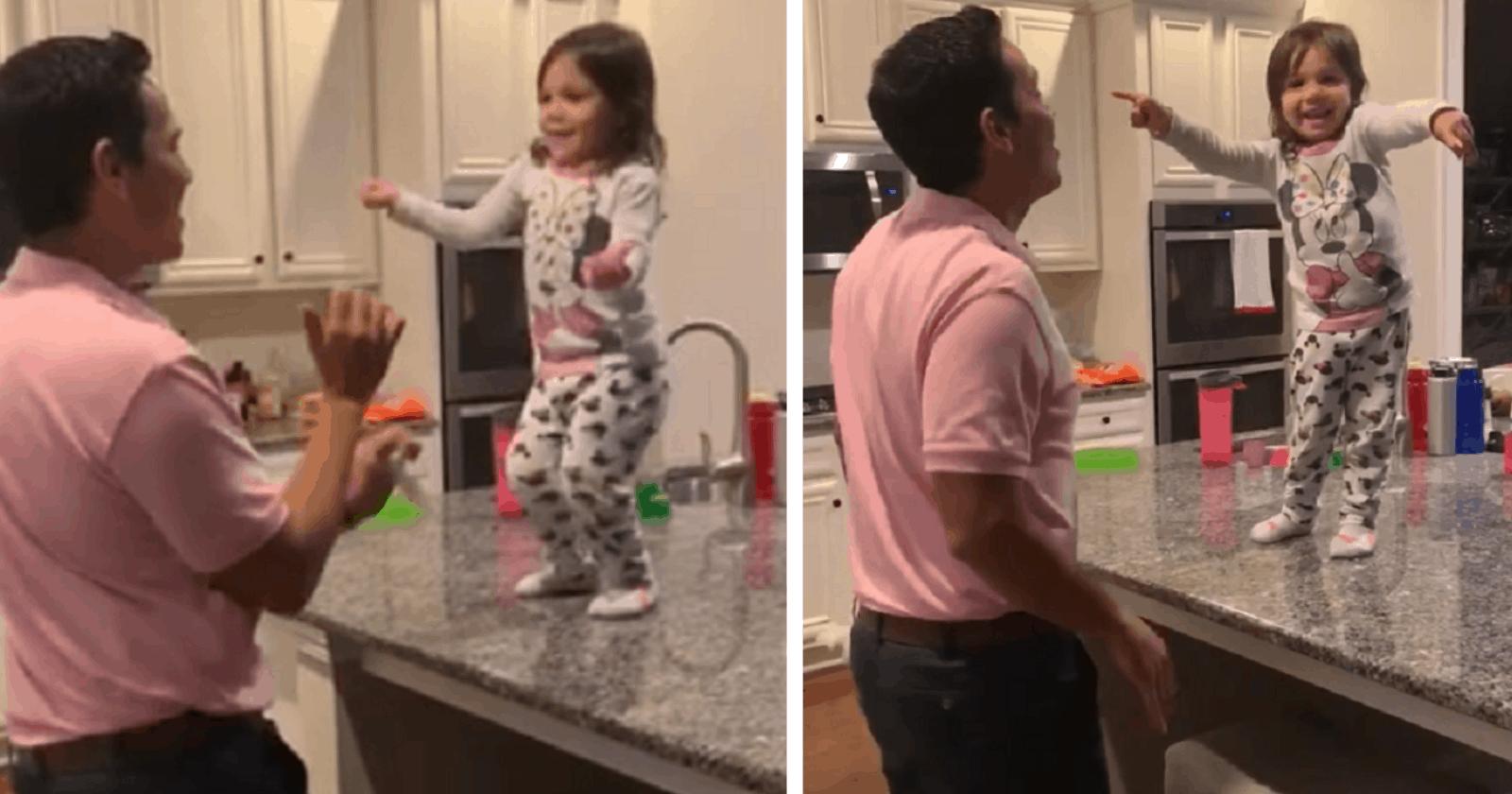 VÍDEO: pai e filha se tornam viral ao serem flagrados em dança fofa