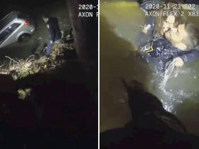 Após cair em rio de águas congeladas, policiais fazem resgate assustador de mulher presa em carro