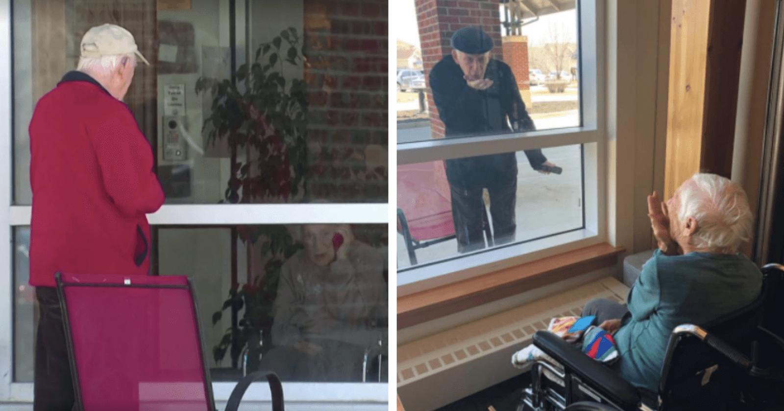 Casados há 70 anos, idoso visita esposa por janela de hospital e diz: 'são estamos separados'