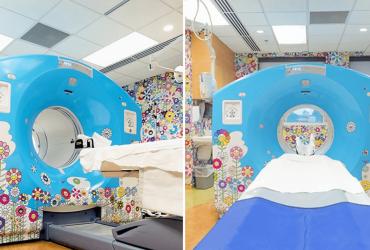 Artista transforma sala de tomografia infantil para alegrar crianças que chegam ao local