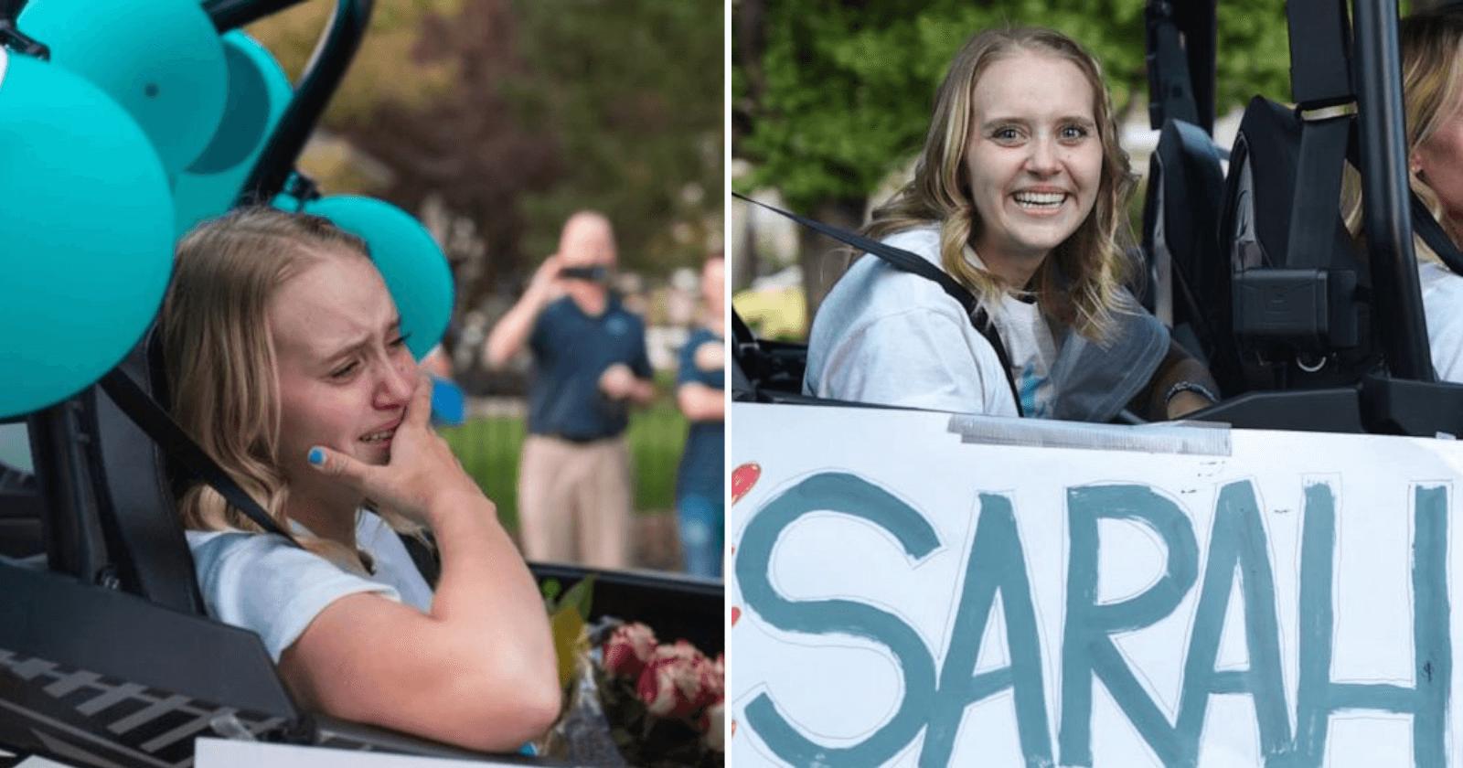 Vizinhos se reúnem, fecham rua e fazem recepção épica para garota com paralisia