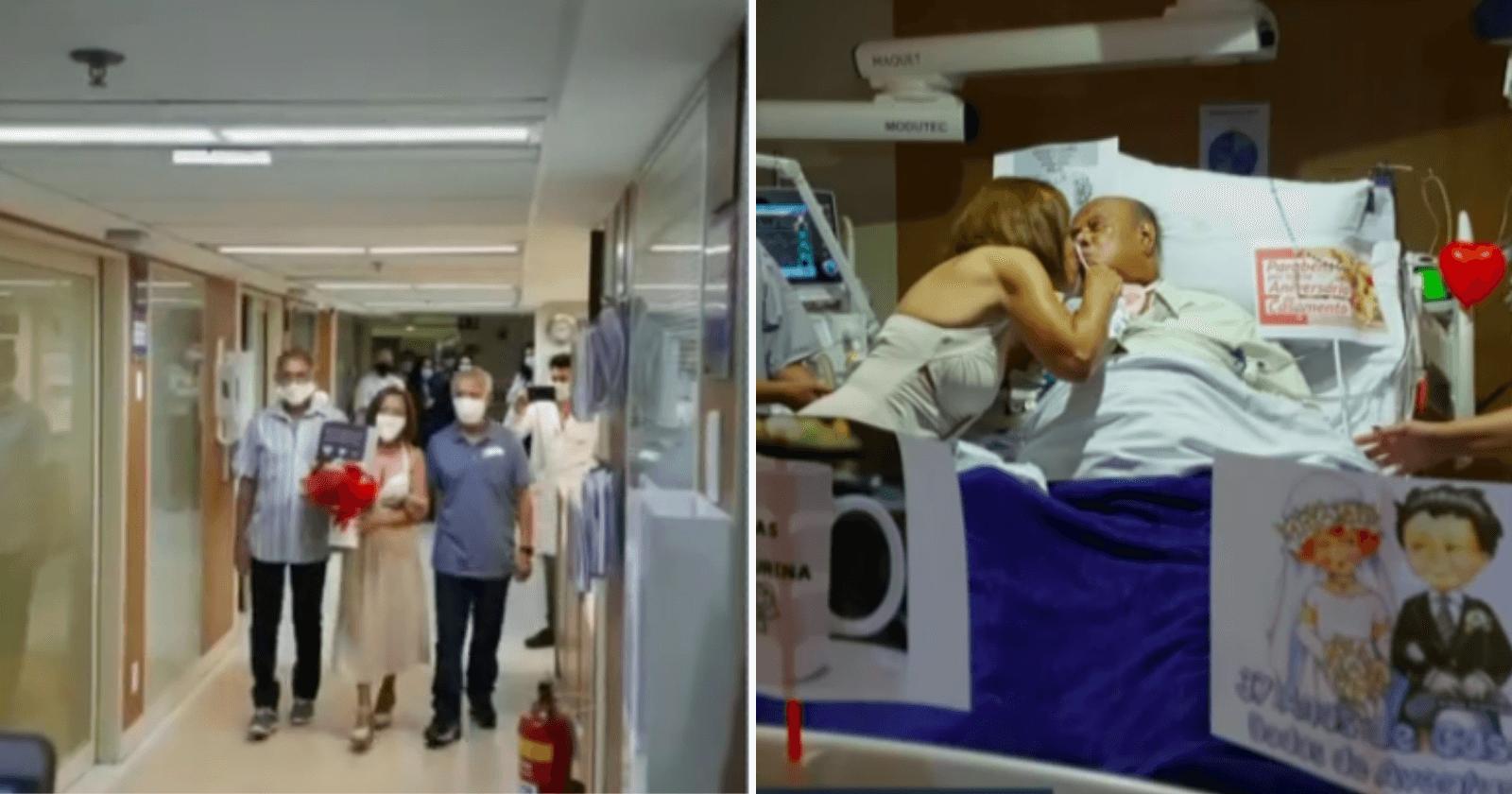Família e funcionários se mobilizam e casal comemora 37 anos de casados em hospital
