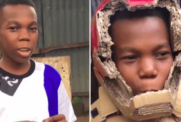 Garoto nigeriano que é fã do Homem de Ferro cria armadura SURPREENDENTE só com papelão