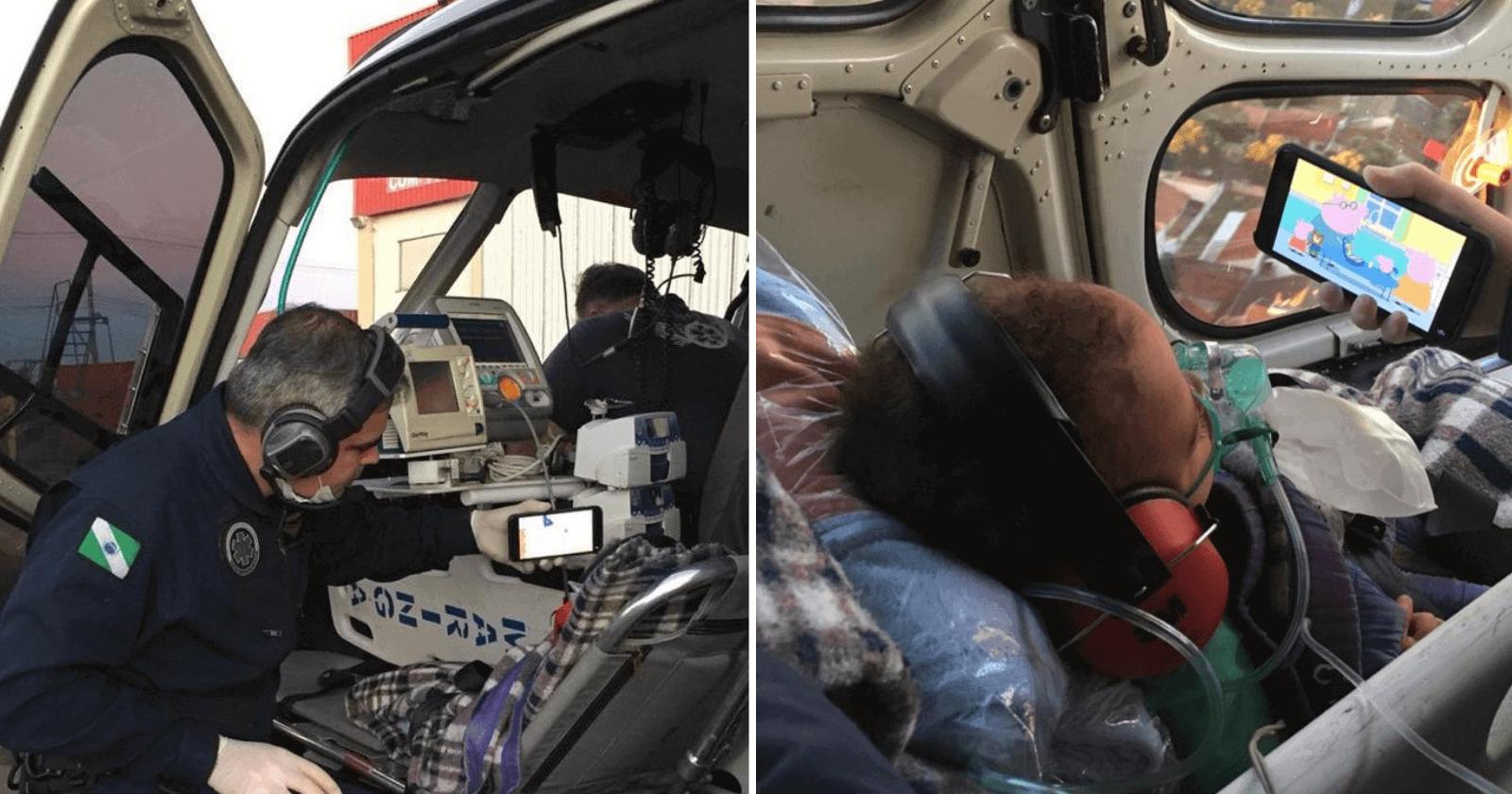 Para acalmar bebê que estava sendo transferido de helicóptero, médico age como um pai!