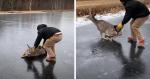 Homem arrisca sua vida para fazer resgate emocionante de cervo em lago CONGELADO