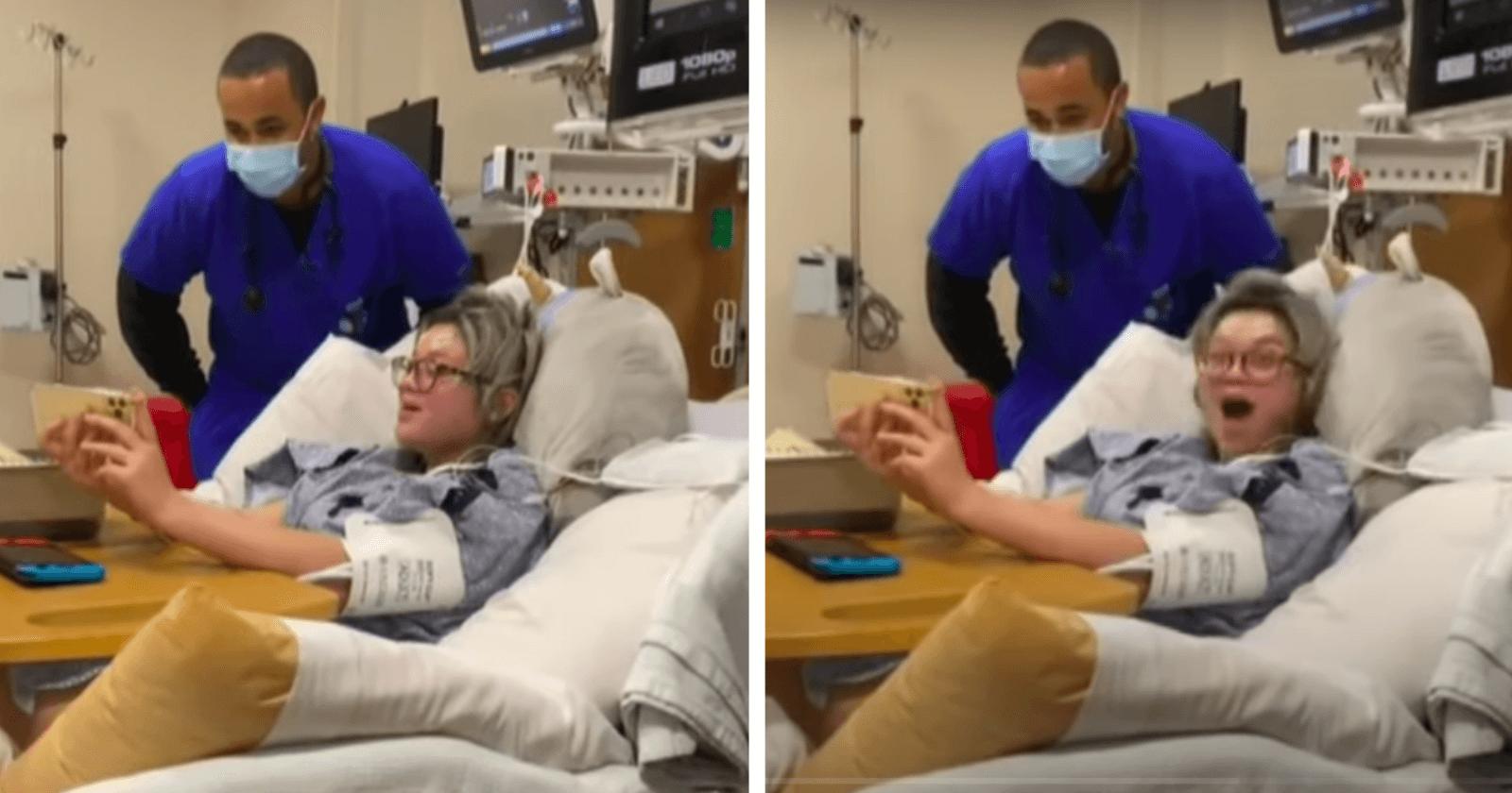 Garota com câncer cerebral canta em hospital e dueto com enfermeiro emociona fortemente