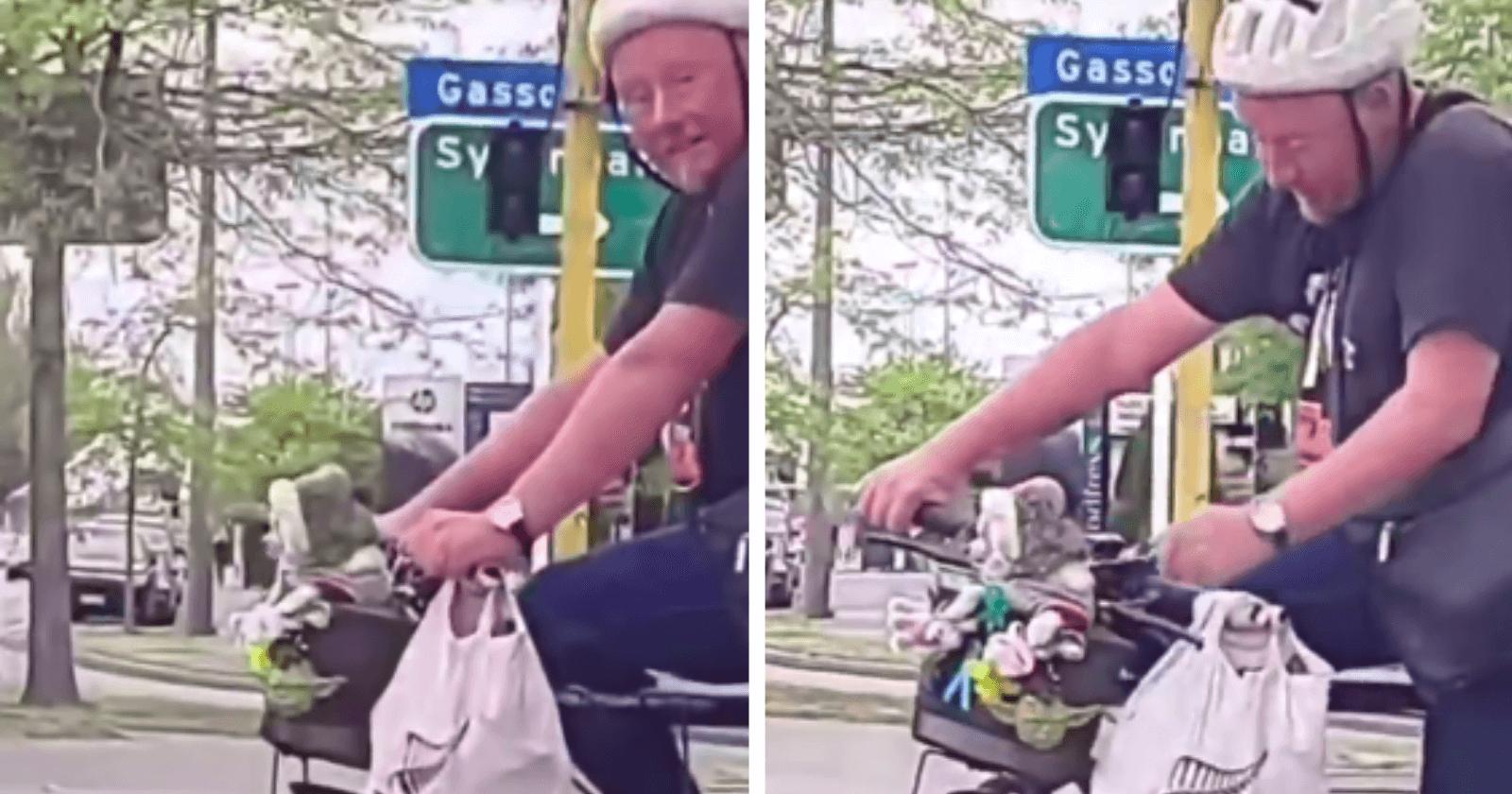 VÍDEO: Senhor é flagrado em passeio de bike com o filhote em cestinha e reação é a mais fofa da web!