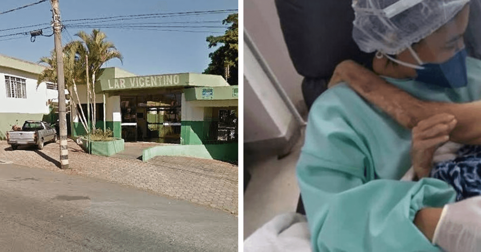 Fotografia de técnica em enfermagem acalentando idosa no colo emociona o mundo!