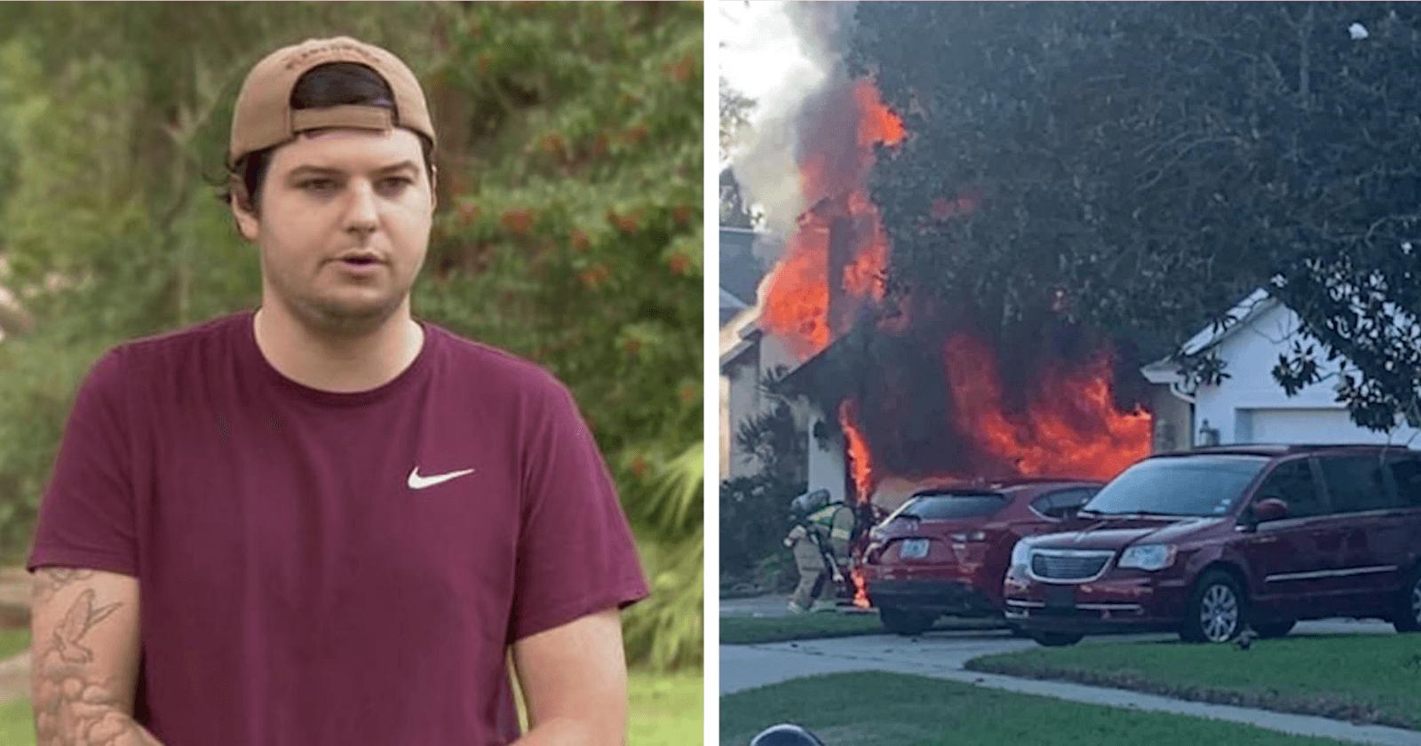 Jovem se arrisca em incêndio e consegue resgatar senhor que não conseguia sair