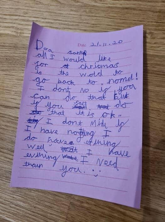 Mãe encontra cartinha de filha para Papai Noel e o que tem escrito é de arrancar lágrimas!