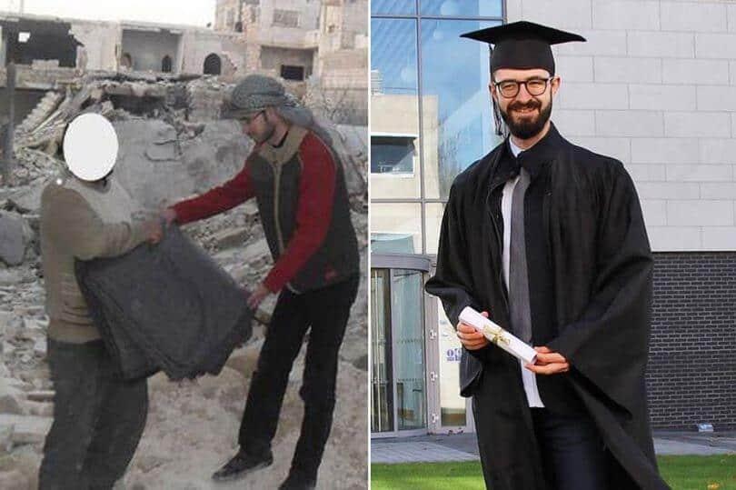 Refugiado compara fotografias de quando vivia na guerra e imagem de HOJE inspira o mundo!