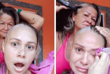 Mãe arranca lágrimas ao raspar seu próprio cabelo para apoiar filha com câncer