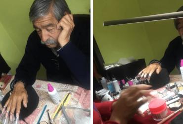 INSPIRADOR: Pai se dispõe a ser modelo para filha que está aprendendo a ser manicure