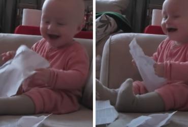VÍDEO: Bebê se torna viral por causa de risada contagiante e motivo te fará chorar de rir!