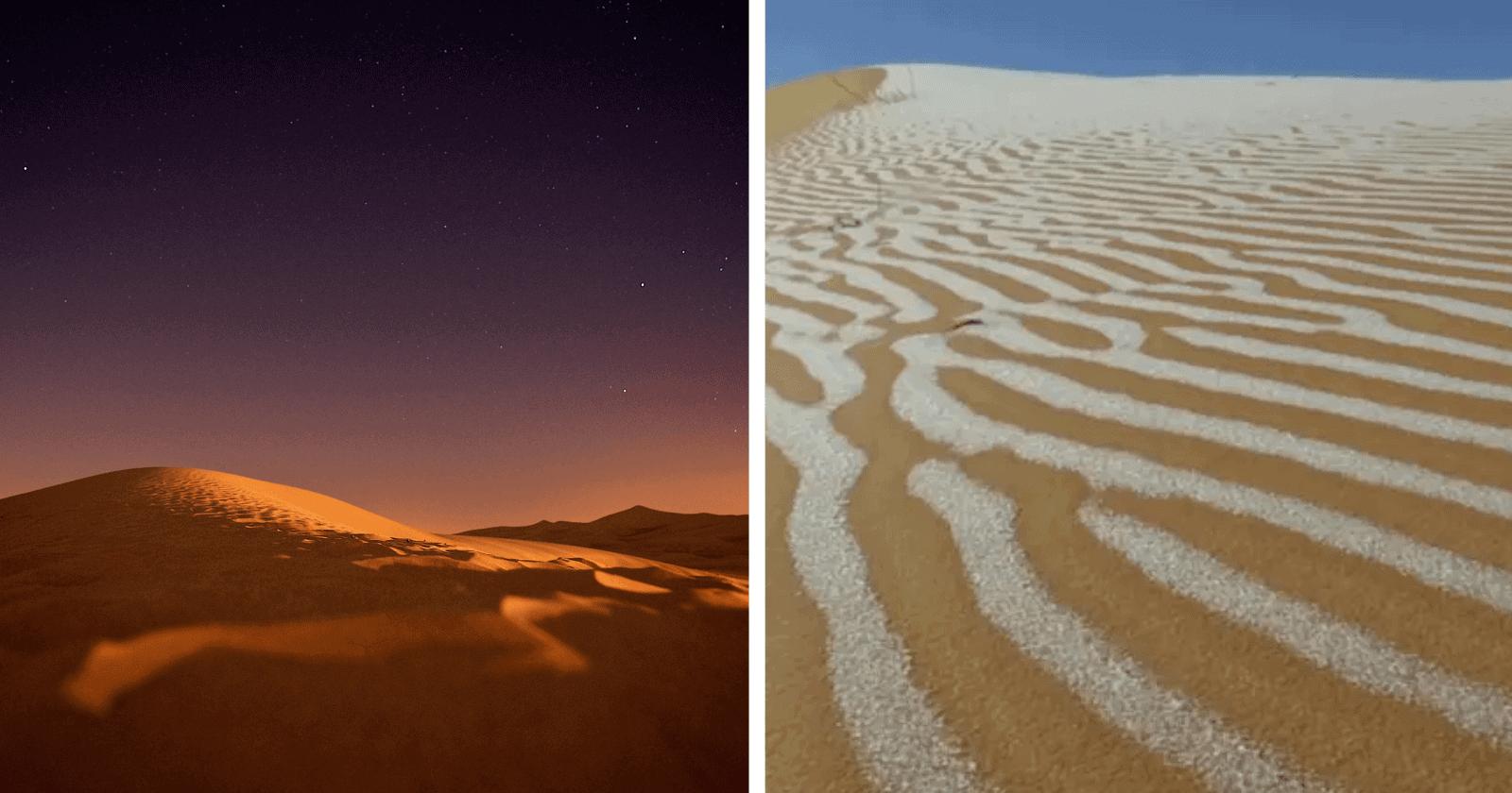 Fenômeno raro ocorre no Saara e após 40 anos é encontrado gelo e neve no deserto