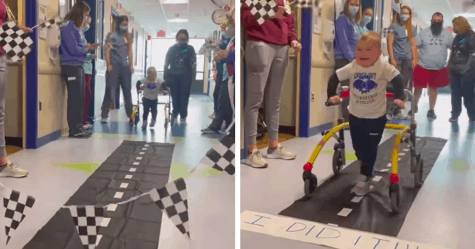 Garotinho de 2 anos que ficou paralisado recebe alta e hospital comemora vitória da melhor forma